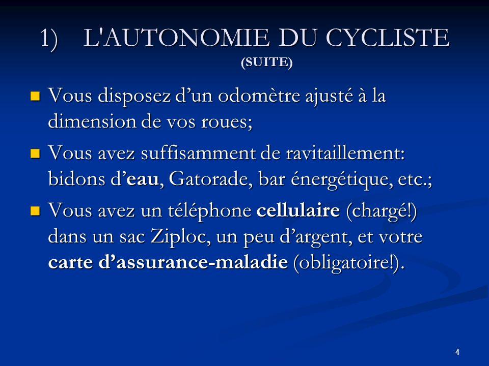 L AUTONOMIE DU CYCLISTE (SUITE)