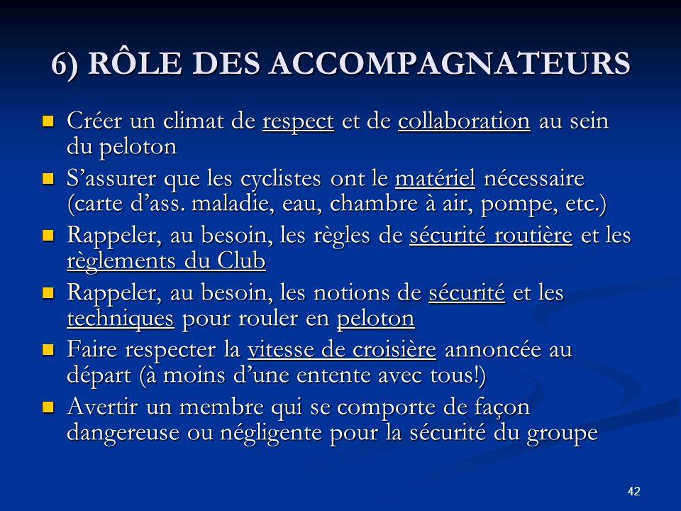6) RÔLE DES ACCOMPAGNATEURS