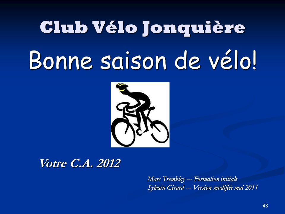 Bonne saison de vélo! Club Vélo Jonquière Votre C.A. 2012