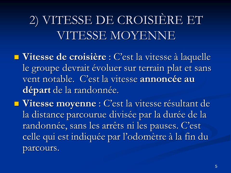 2) VITESSE DE CROISIÈRE ET VITESSE MOYENNE