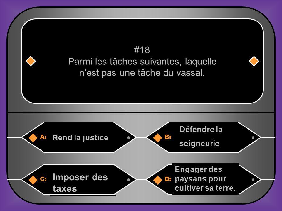 Parmi les tâches suivantes, laquelle n'est pas une tâche du vassal.