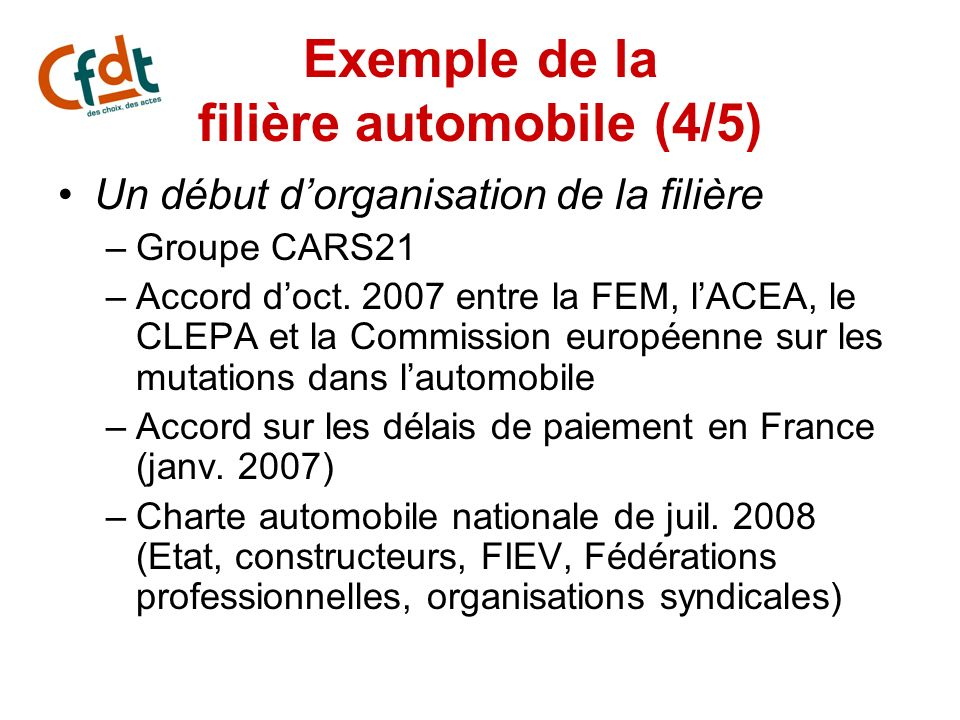 Exemple de la filière automobile (4/5)