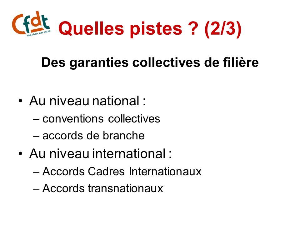 Des garanties collectives de filière
