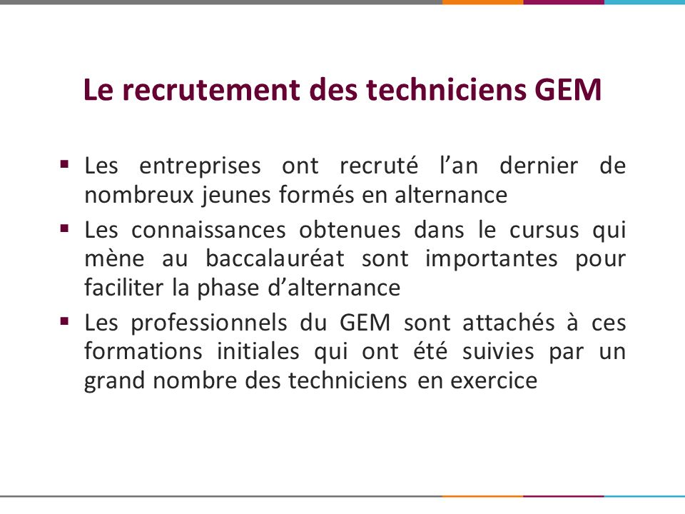Le recrutement des techniciens GEM