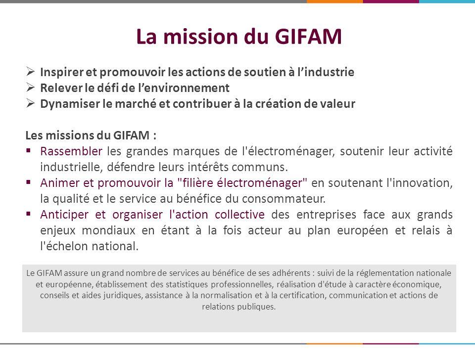 La mission du GIFAM Inspirer et promouvoir les actions de soutien à l'industrie. Relever le défi de l'environnement.