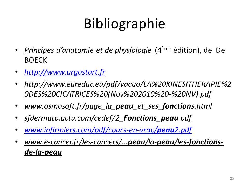 Bibliographie Principes d'anatomie et de physiologie (4ème édition), de De BOECK. http://www.urgostart.fr.