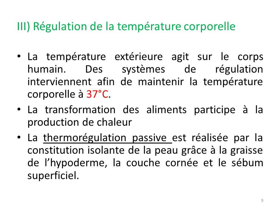 III) Régulation de la température corporelle