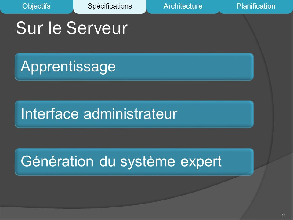 Sur le Serveur Apprentissage Interface administrateur