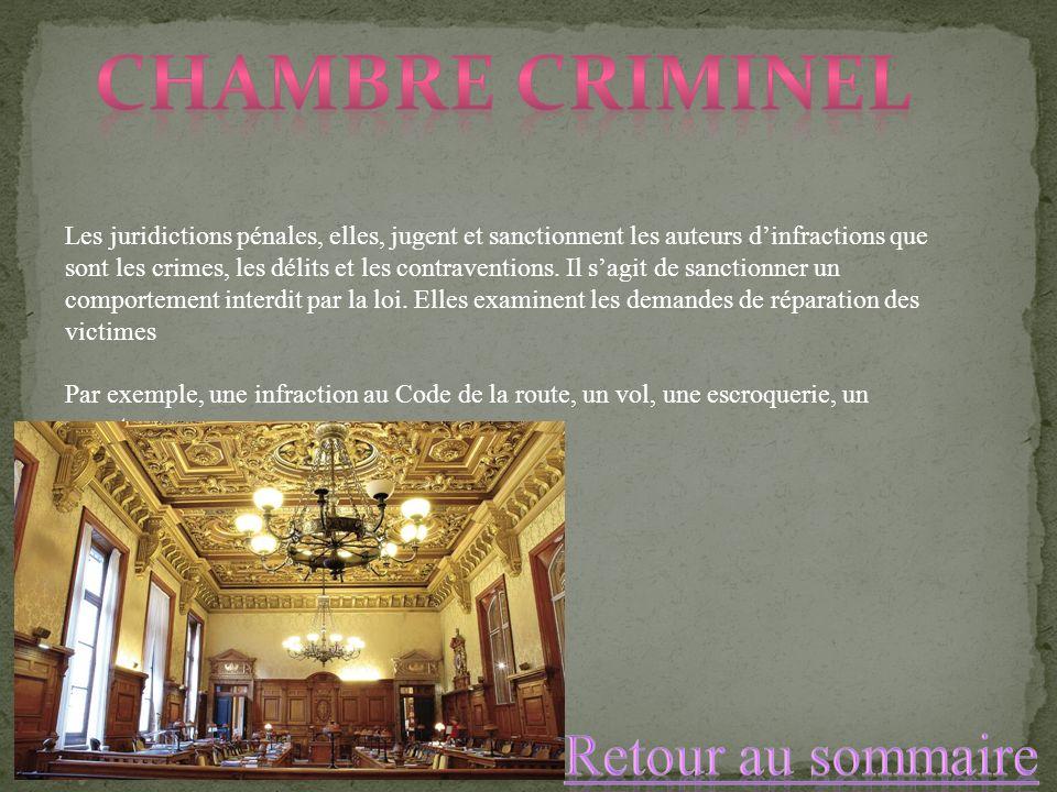 Chambre criminel Retour au sommaire