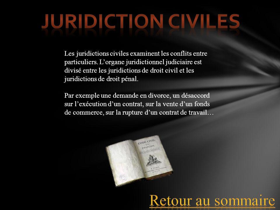 Juridiction civiles Retour au sommaire