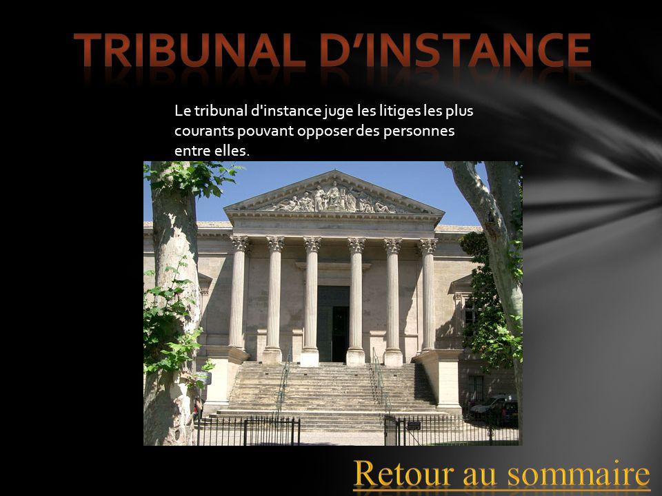 Tribunal d'instance Retour au sommaire