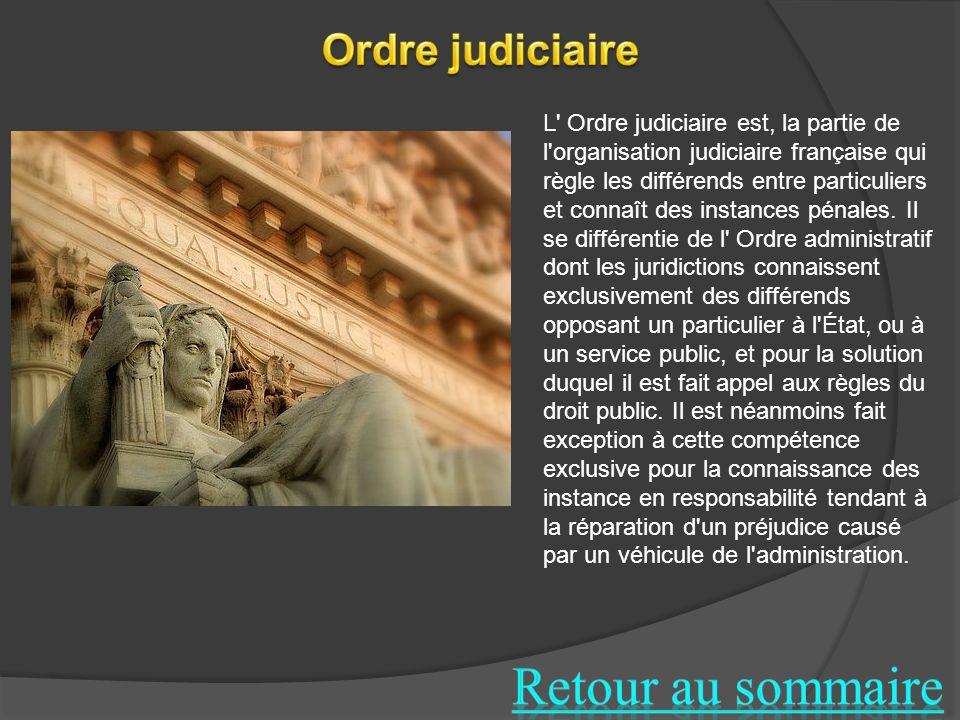 Retour au sommaire Ordre judiciaire