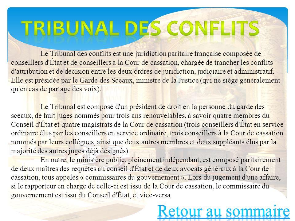 Tribunal des conflits Retour au sommaire