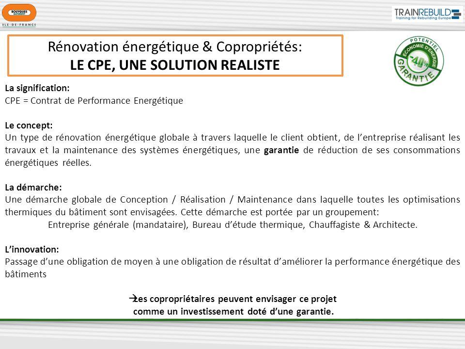 Rénovation énergétique & Copropriétés: LE CPE, UNE SOLUTION REALISTE