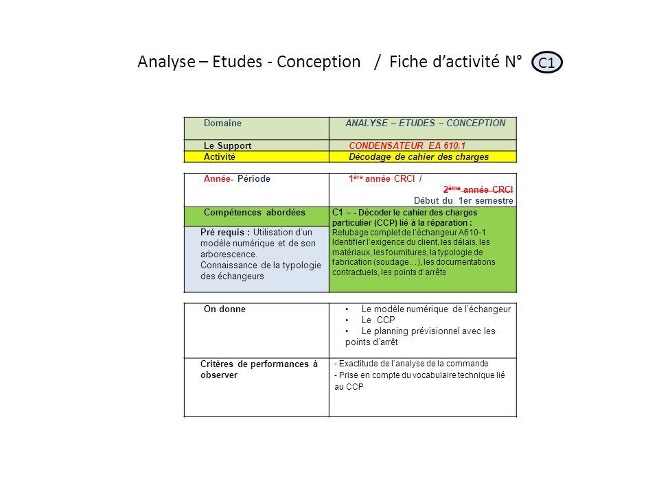 Analyse – Etudes - Conception / Fiche d'activité N°