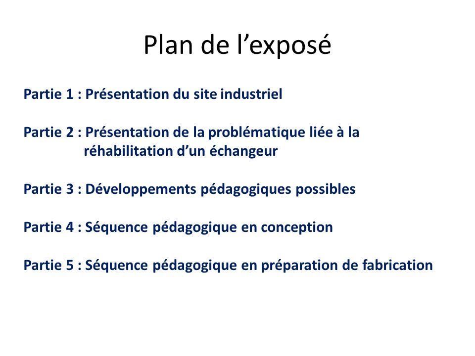 Plan de l'exposé Partie 1 : Présentation du site industriel