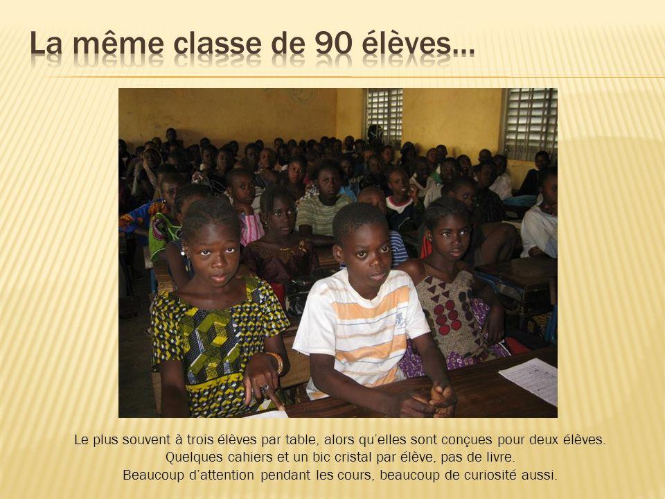 La même classe de 90 élèves…