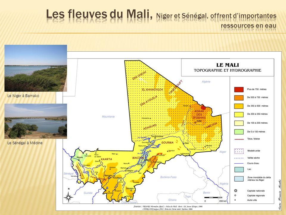 Les fleuves du Mali, Niger et Sénégal, offrent d'importantes ressources en eau