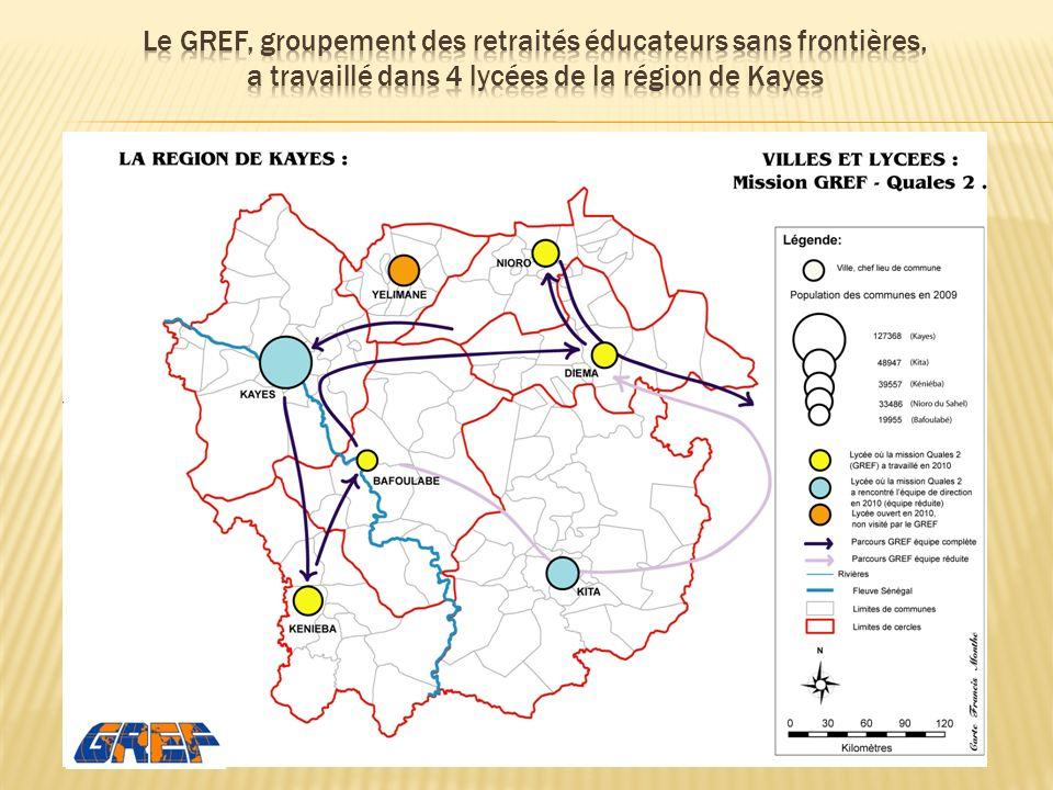 Le GREF, groupement des retraités éducateurs sans frontières, a travaillé dans 4 lycées de la région de Kayes