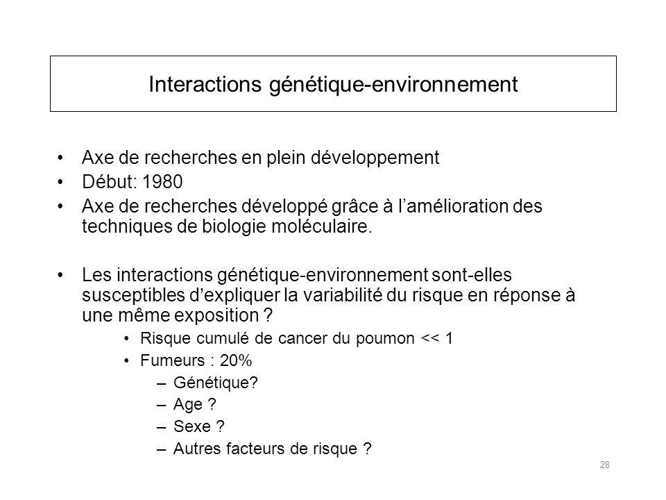 Interactions génétique-environnement