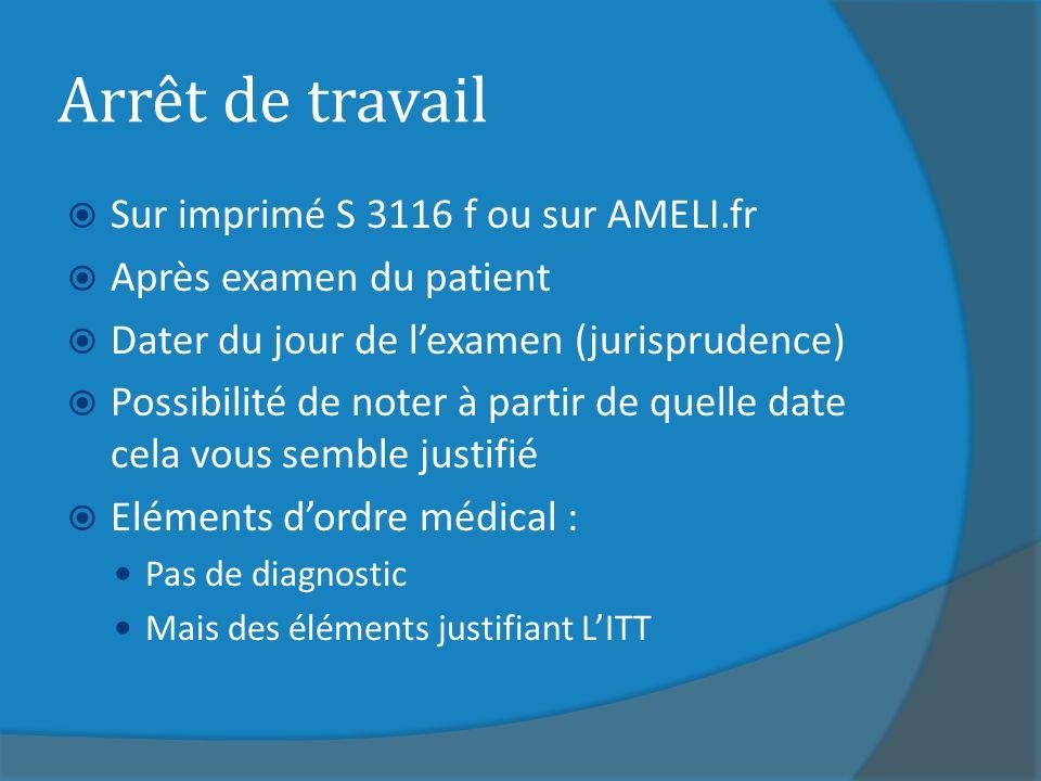 Arrêt de travail Sur imprimé S 3116 f ou sur AMELI.fr