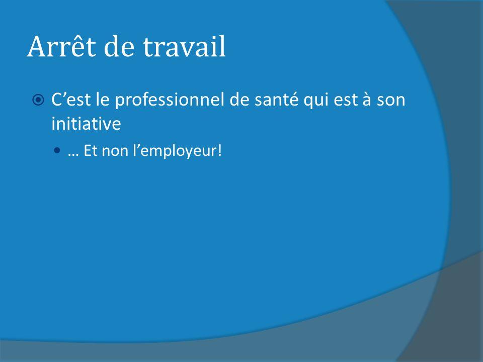 Arrêt de travail C'est le professionnel de santé qui est à son initiative … Et non l'employeur!