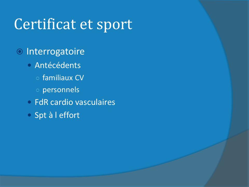 Certificat et sport Interrogatoire Antécédents FdR cardio vasculaires