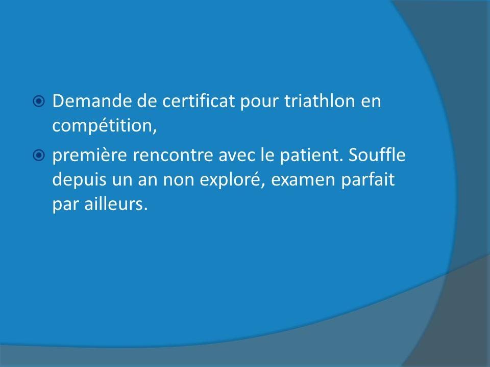 Demande de certificat pour triathlon en compétition,