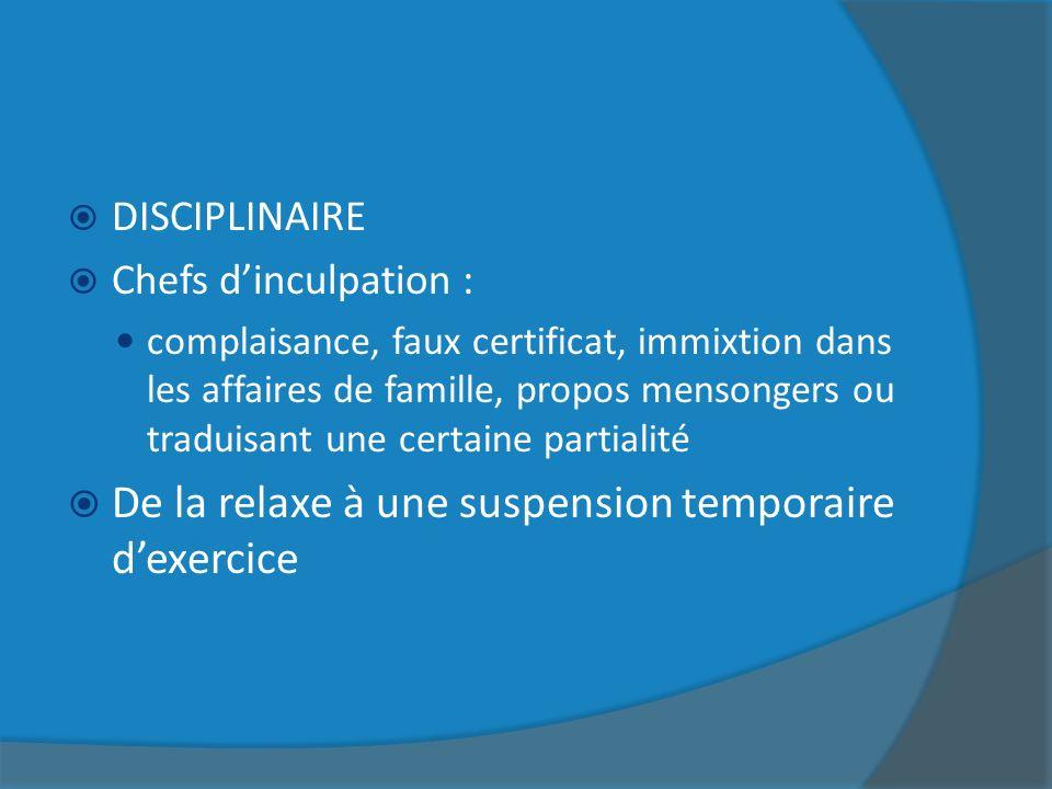 De la relaxe à une suspension temporaire d'exercice