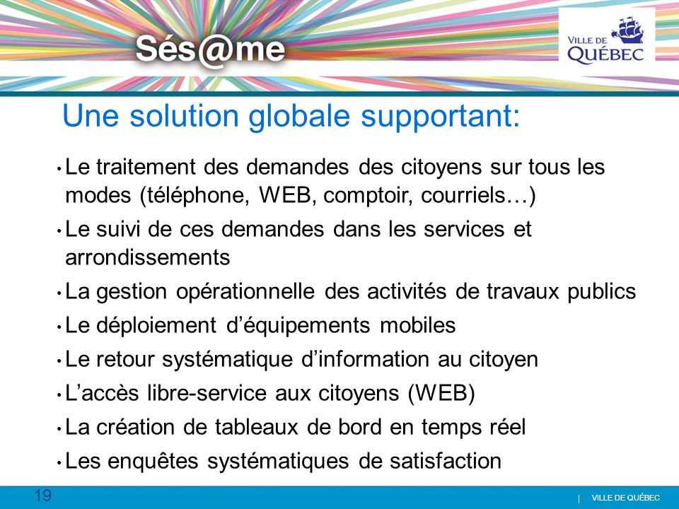 Une solution globale supportant: