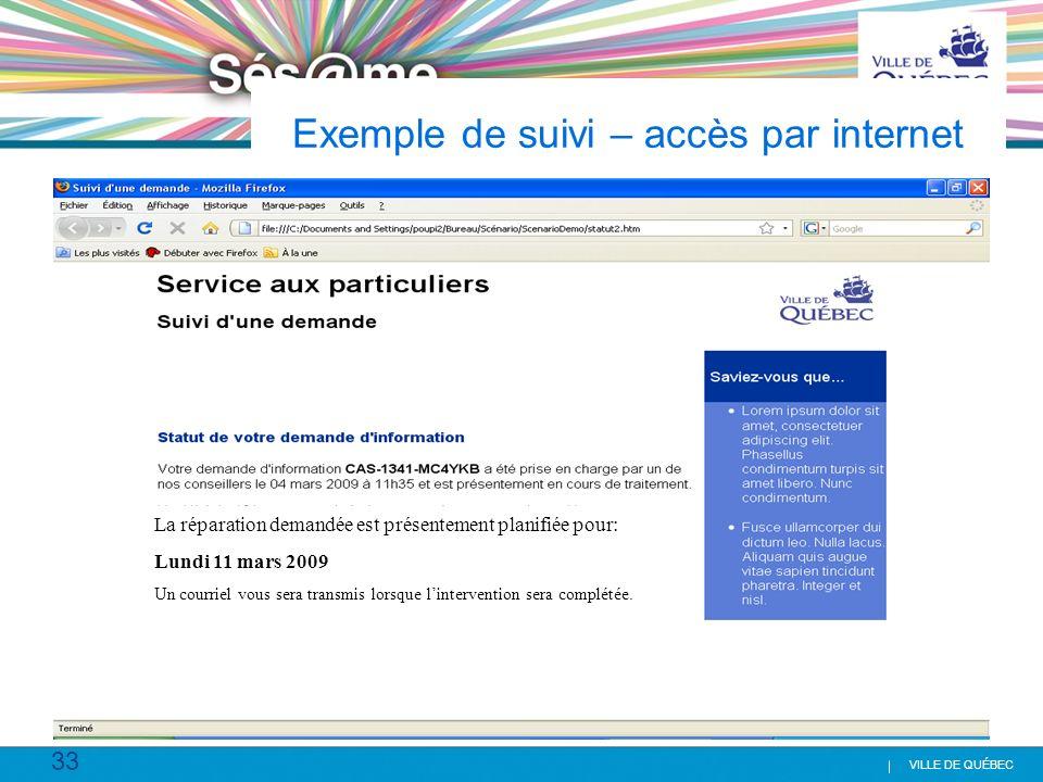 Exemple de suivi – accès par internet