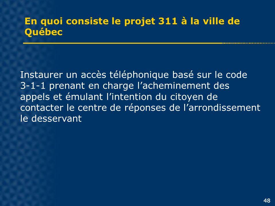 En quoi consiste le projet 311 à la ville de Québec