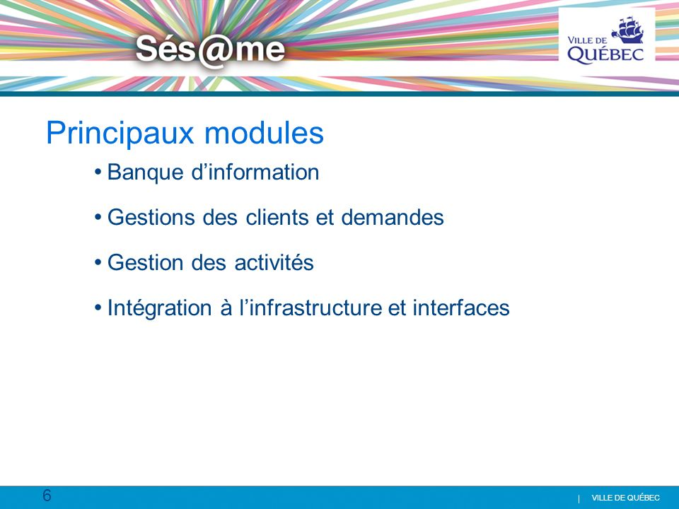Principaux modules Banque d'information