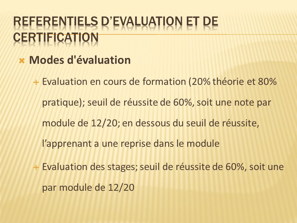 REFERENTIELS D'EVALUATION ET DE CERTIFICATION