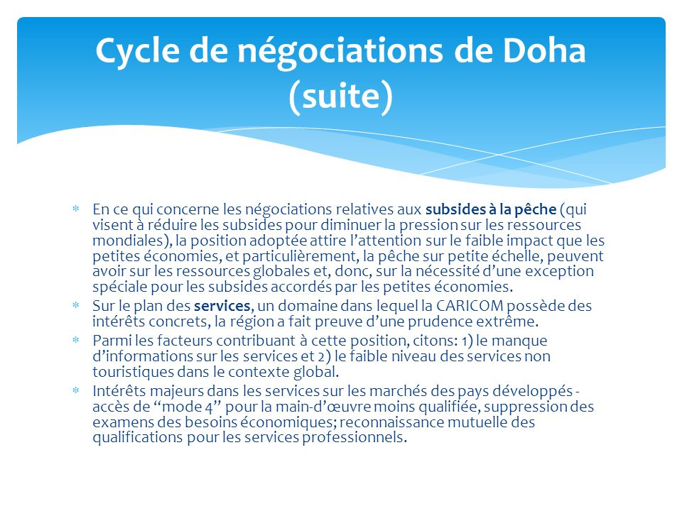 Cycle de négociations de Doha (suite)