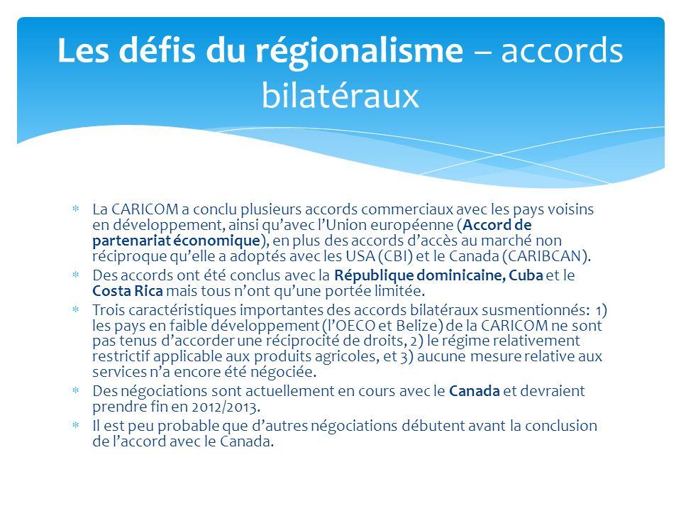 Les défis du régionalisme – accords bilatéraux