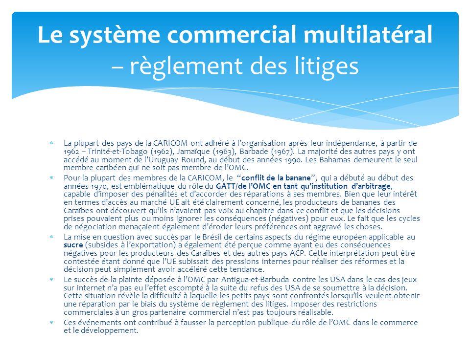 Le système commercial multilatéral – règlement des litiges