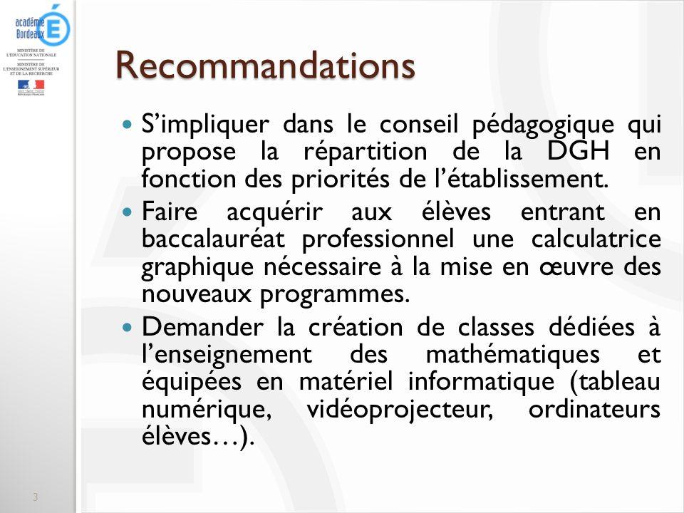 Recommandations S'impliquer dans le conseil pédagogique qui propose la répartition de la DGH en fonction des priorités de l'établissement.