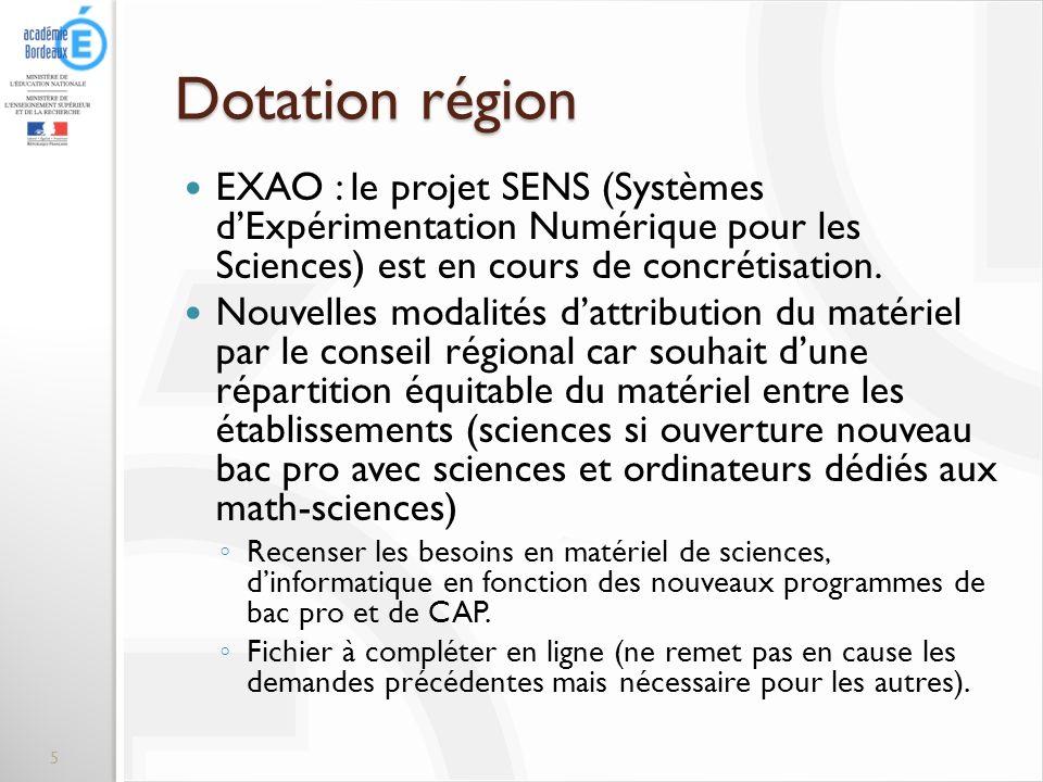 Dotation région EXAO : le projet SENS (Systèmes d'Expérimentation Numérique pour les Sciences) est en cours de concrétisation.