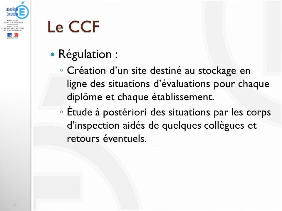 Le CCF Régulation : Création d'un site destiné au stockage en ligne des situations d'évaluations pour chaque diplôme et chaque établissement.