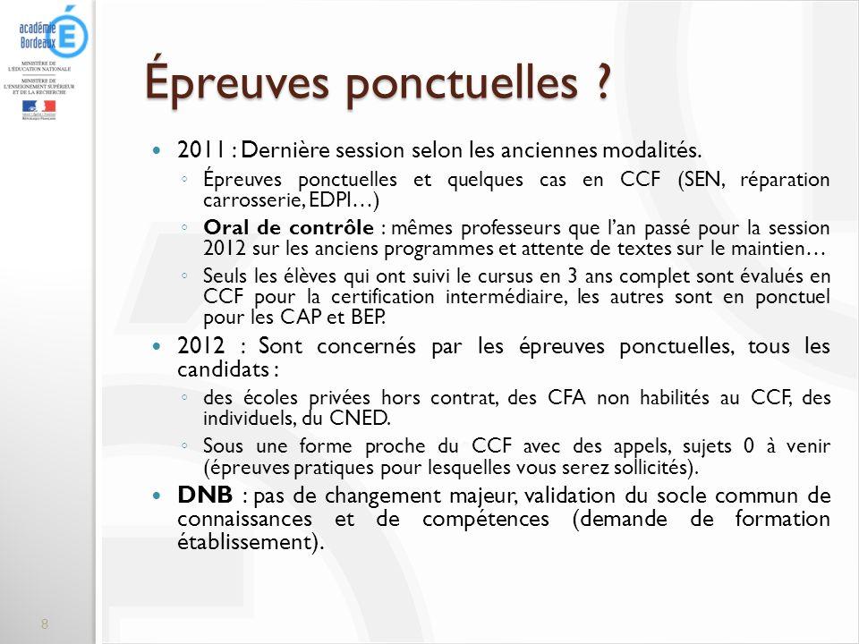 Épreuves ponctuelles 2011 : Dernière session selon les anciennes modalités.