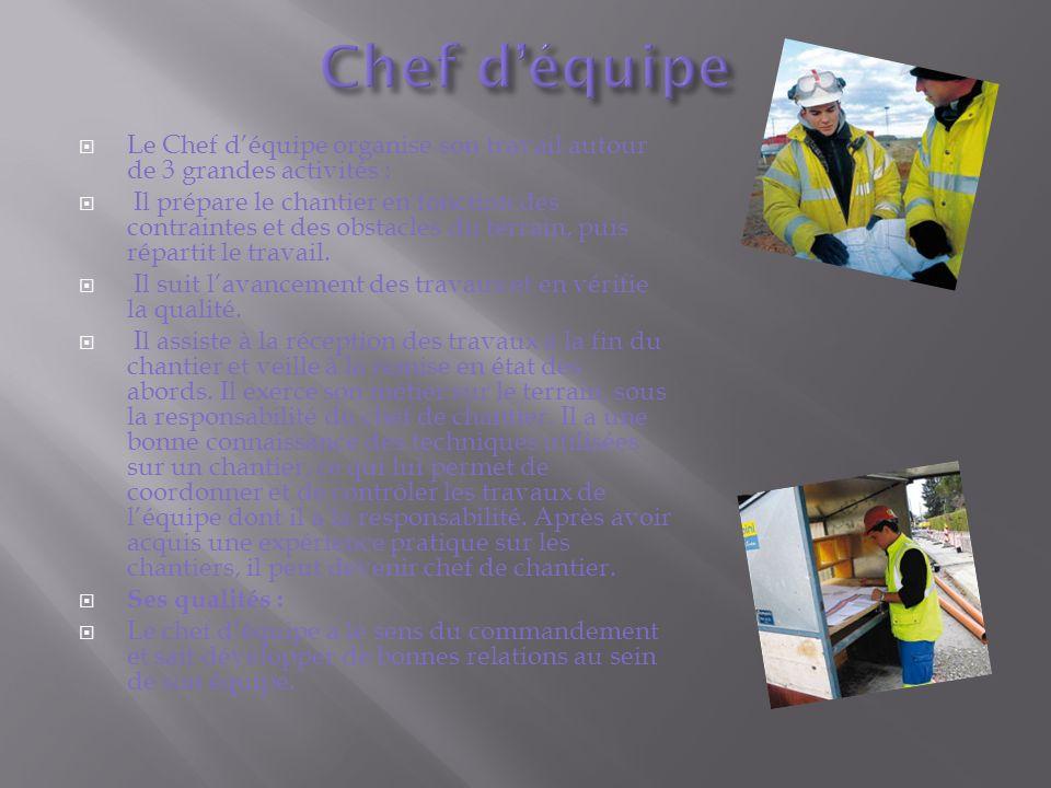 Chef d'équipe Le Chef d'équipe organise son travail autour de 3 grandes activités :