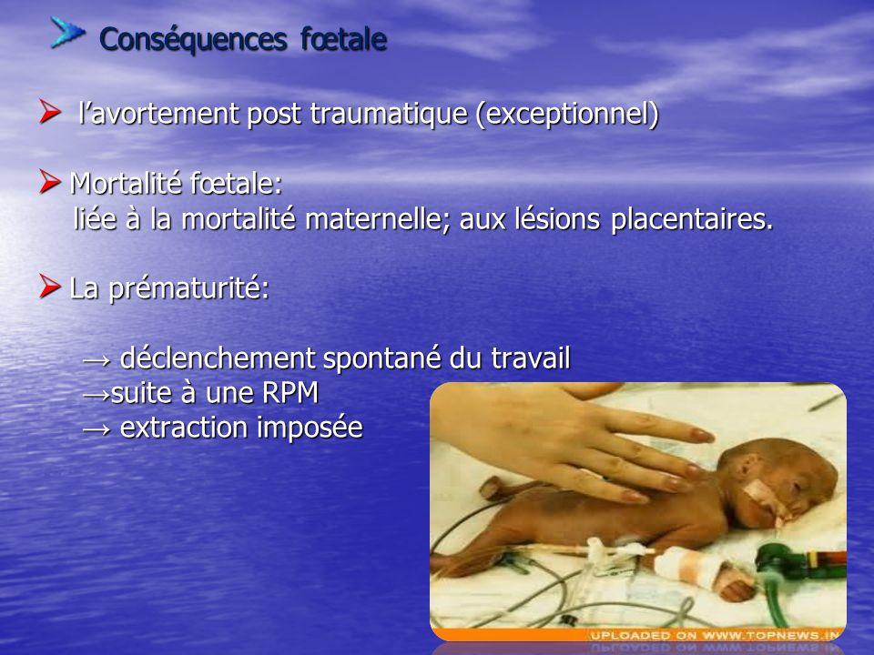 Conséquences fœtale l'avortement post traumatique (exceptionnel)