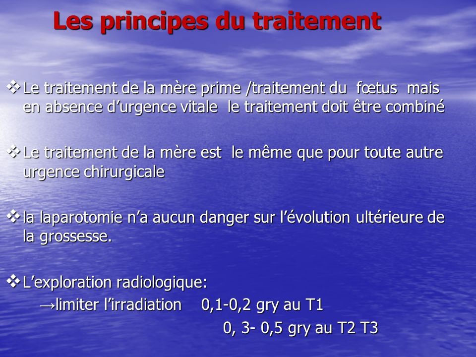 Les principes du traitement