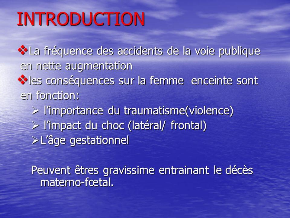 INTRODUCTION La fréquence des accidents de la voie publique