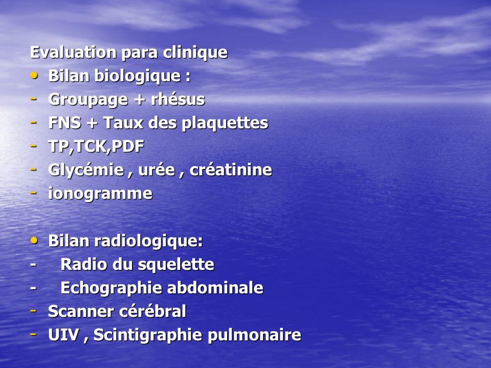 Evaluation para clinique