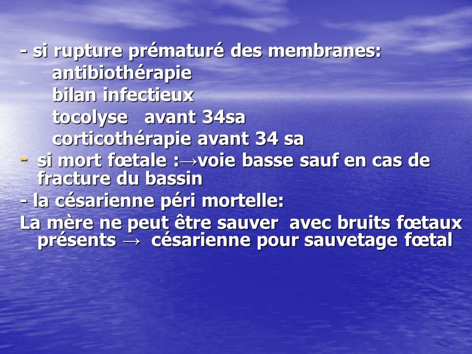 - si rupture prématuré des membranes:
