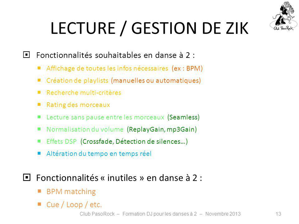 LECTURE / GESTION DE ZIK