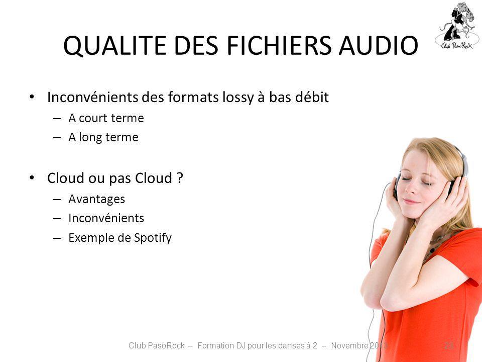 QUALITE DES FICHIERS AUDIO