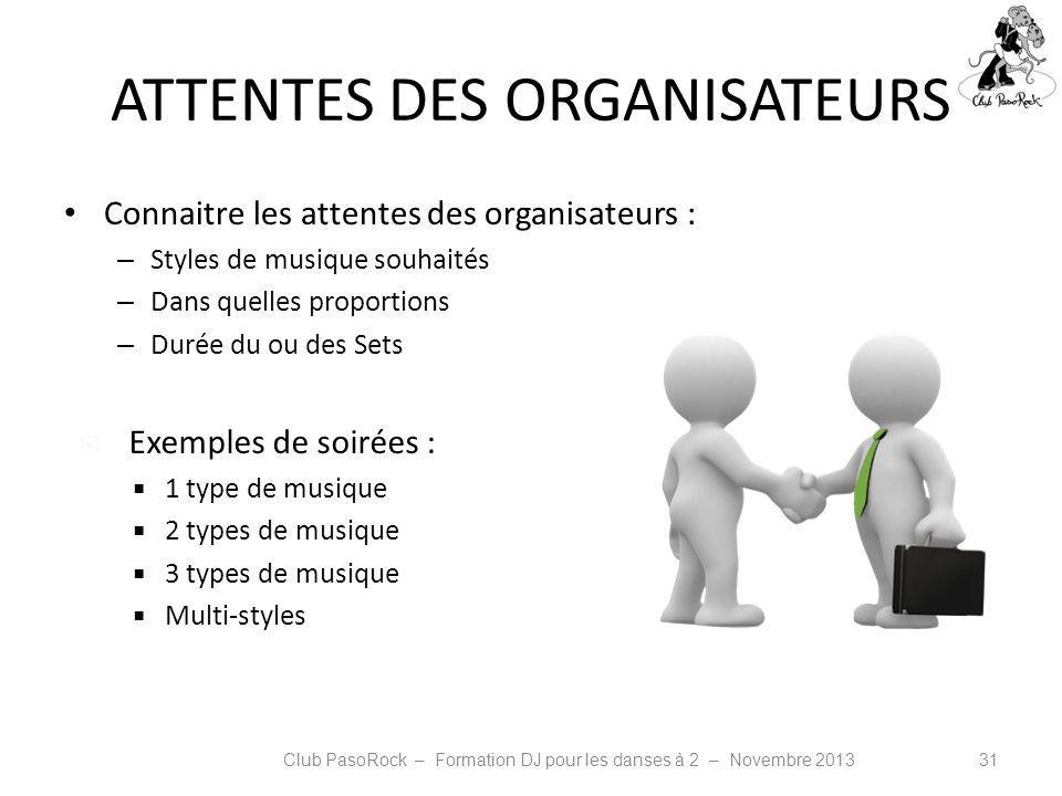 ATTENTES DES ORGANISATEURS